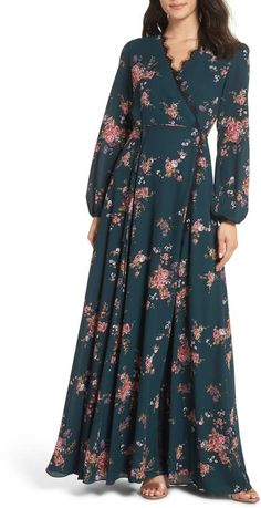 WAYF The Violet Floral Print Wrap Gown