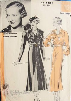 1930s Beautiful Art Deco Dress Pattern Cascade Jabot Neckline Full  or Regular Sleeves, Front Flared Panel Sew Simple Hollywood 1014 Vintage Sewing Pattern Bust 44 Featuring Verree Teasdale Warner Bros