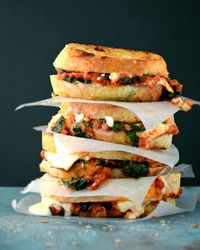 Grilled Cheese with Spinach-and-Tomato Sauce Recipe