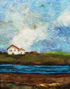 Riverfront needlefelt art by Deebs Fiber Art Fibre Textile, Textile Art, Nuno Felting, Needle Felting, Felt Pictures, Landscape Quilts, Landscape Art, Wool Art, Felting Tutorials