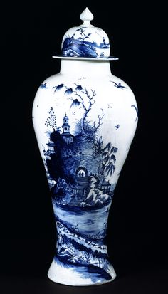 Style Guide: Chinoiserie - Victoria and Albert Museum: Vase and Cover Richard Chaffers Factory About 1760 Soft-paste porcelain, painted in underglaze blue Museum no. Blue And White China, Blue China, Love Blue, Yves Klein Blue, Blue Pottery, White Vases, Victoria And Albert Museum, Ginger Jars, White Decor