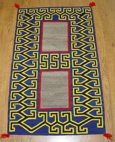 "Teec Nos Pos  Double Navajo  Saddle Blanket  34"" x 56""  Circa 1940s"