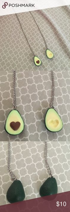 """Avocado 🥑 necklaces Never worn avocado necklaces. The """"pit"""" is a heart and fits into the other necklace. Can be used as best friend necklaces! Jewelry Necklaces"""