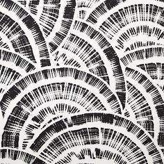 Shop expressionist rounds black and white wallpaper. Brushstrokes of unscripted semi-circles form a layered fan-like effect on this hand-printed paper by Hygge and West.