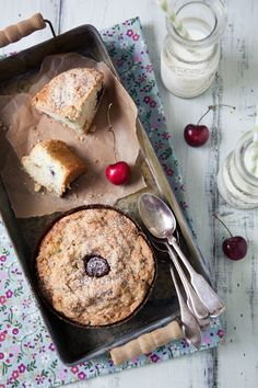 Having Fun With Cherries! Cherry Clafoutis, Cherry Pistachio Crumble Cakes & A Grilled Salmon, Fennel, Radish & Cherries Salad - Perfect!