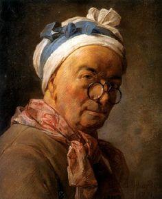 "Jean-Baptiste-Siméon Chardin (1771) self-portrait. pastel on vellum, 1'5"" x 1'3"" - The Louvre."