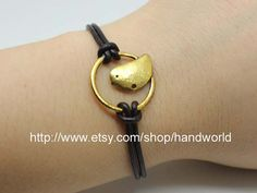 Golden Bird Bracelet Dard Brown Leather Bracelet by handworld, $1.99