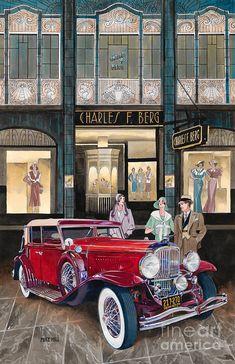 Downtown Duesenberg 1931 Painting  - Downtown Duesenberg 1931 Fine Art Print