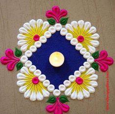 Easy Rangoli Designs Videos, Rangoli Designs Simple Diwali, Rangoli Side Designs, Simple Rangoli Border Designs, Rangoli Simple, Rangoli Designs Latest, Free Hand Rangoli Design, Small Rangoli Design, Colorful Rangoli Designs