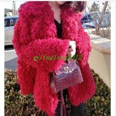 Fashion Womens Red Faux Fur Lapel Parka Outerwear Winter Warm Jacket Coat Sz