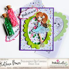 ScrappyHorses: Party!; Polkadoodles, Ruby Party Girl; shaker card, papercrafting; #polkadoodles  #pdoodlescraft