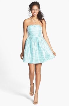 a. drea Strapless Metallic Stripe Fit & Flare Dress (Juniors) available at #Nordstrom
