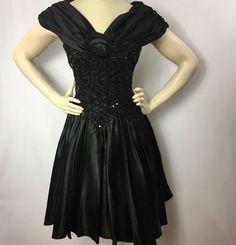 Vintage 80s Zum Zum Prom Dress Satin Sequin Flower Size 6 Made in USA #ZumZum #Formal