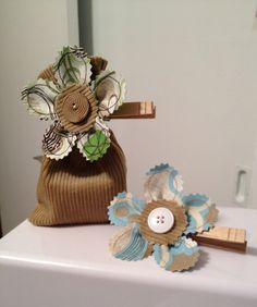 Fabric Gift BagWedding Favor Bag Tan with by Tiff2anydesigns