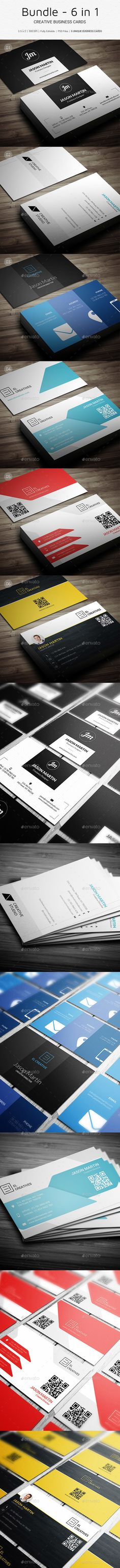 Bundle - 6 in 1 - Pro Minimal Business Cards Templates PSD