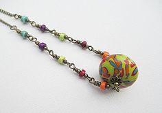 Yellow Bead Necklace Handmade Beaded Jewelry by LittleBitsOFaith, $30.00