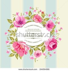 Flower label on a bright background for the design of vintage card Vector illustration