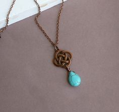 Love Knot with Turquoise Briolette   by tinycottagetreasures, $18.00 by queen