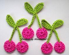 Crochet patches – Cherries Cherry Crochet Applique Handcraft – a unique product by Blumenland on DaWanda