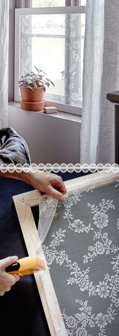 Wonderful Lace Window Sheers stretched and mounted on removable frames for privacy shades - curtains frosted window lace bathroom window ideas for renters or homeowners