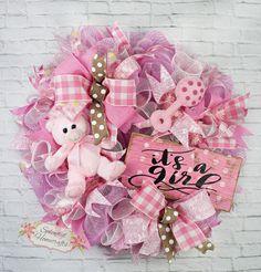 Baby Girl Wreath Baby Wreath Girl Wreath by SplendidHomecrafts Baby Door Wreaths, Deco Mesh Wreaths, Rustic Baby Decor, Polka Dot Theme, Baby Girl Room Decor, Wreath Making Supplies, Trendy Tree, Babys, Wreath Ideas