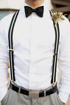 Wedding Groomsmen suits should match the groom's wedding tuxedo suit, and there are plenty of ways to do so. Suspenders Outfit, Groom Outfit, Groom Attire, Wedding Men, Wedding Suits, Trendy Wedding, Casual Wedding Attire, Cowgirl Wedding, Cabin Wedding