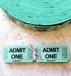 25 Mint Green Admit One Raffle Tickets by MailboxHappiness on Etsy, $2.00