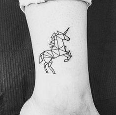 We love unicorn makeup, we love unicorn costumes, and we definitely love a geometric unicorn tattoo. #refinery29 http://www.refinery29.com/2016/10/127743/unicorn-pineapple-tattoo-ideas#slide-7