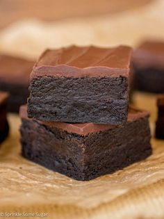 These Triple Dark Chocolate Truffle Brownies are the fudgiest, most delicious brownies EVER. | Sprinkle Some Sugar