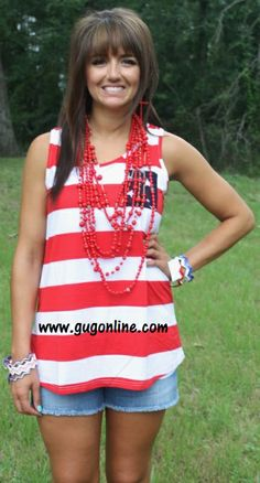 Land of the Free Striped Tank with Sheer Navy Back with Stars $24.95 www.gugonline.com