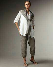 Crops with linen shirt and sweater or shawl scarf.