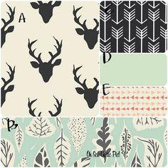 Deer & arrow Crib bedding, Baby bedding, toddler bedding, bumper-less bedding.  Hello Bear colleciton - Deer, elk, triangles