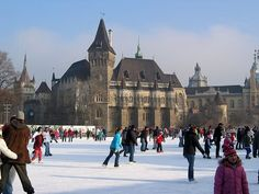 Vajdahunyad Castle with the Ice Skating rink in City Park in Budapest