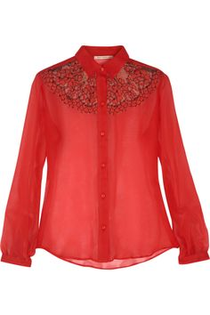 Christopher Kane's silk-georgette and lace shirt