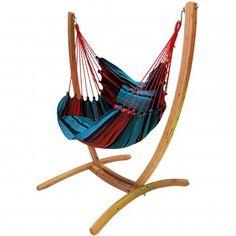 Houten standaard met XL hangstoel