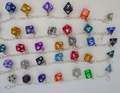Mini Dice Charm Bracelet Rainbow, Dungeons and Dragons, dice jewelry, geek, geeky, DND, geekery @Megan Straatmeyer