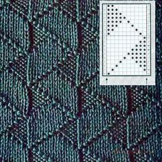 Amazing zigzaging knit and purl stitch. Charted, Russian website.
