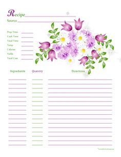 purple white flower recipe card full page the preview of this is blurry