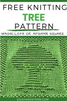 Free Garden Themed Dishcloth and Afghan Squares Knitting Patterns Knitted Dishcloth Patterns Free, Knitting Squares, Knit Dishcloth, Easy Knitting Patterns, Loom Knitting, Knitting Stitches, Free Knitting, Knitting Projects, Oak Tree