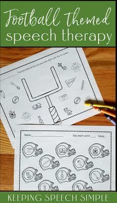 Target sound production with these fun football themed speech therapy worksheets. No reading is required, making these no prep printables ideal to use with your preschool, kindergarten and elementary aged students. These speech therapy activities can be used during during mixed therapy groups. Send home for speech therapy homework or use during RtI sessions. Keep these worksheets on hand in your speech room. Most sounds are included in all positions. Initial blends for s, r, l are included.