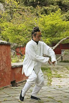 Taoist monk in Tai Chi pose, Tai Shan, Shandong province, Taishan, Mount Tai China