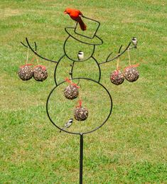 Metal Snowman Seed Ball Bird Feeder and Seed Balls