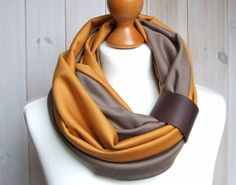 Mulitcolored Infinity SCARF Circle Scarf with leather by Zojanka, $30.90