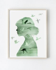 Green Greenery Minimalistic Watercolor Girl and Wild Birds Art Wall Decoration Idea Inspiration Watercolor Paintings Nature, Watercolor Girl, Watercolour Art, Watercolor Ideas, Watercolours, Format A3, Moon Decor, Wild Girl, Painting Of Girl