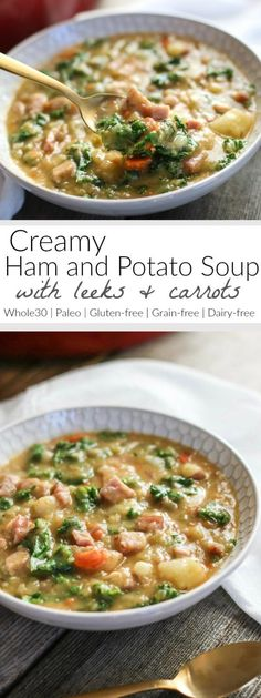 Creamy Ham and Potato Soup A hearty soup to take the chill off and fill your belly! Made without cream, this soup relies on potatoes for it's thick and creamy texture - you'll never know it's dairy-free Paleo Gluten-free Whole 30 Soup, Paleo Whole 30, Whole 30 Recipes, Whole 30 Crockpot Recipes, Ham And Potato Soup, Ham Soup, Roasted Potato Soup Recipe, Cream Potato Soup, Cream Soups