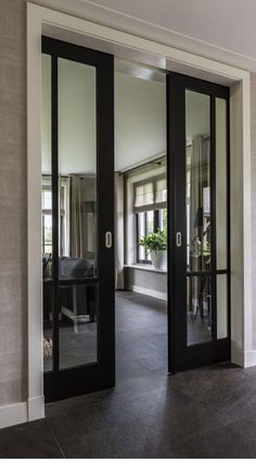 Pocket doors or sliding doors with black trim to offset the rest of the white trim and white fireplace. French Pocket Doors, French Doors, Glass Pocket Doors, Glass Entry Doors, Glass Office Doors, Double Pocket Door, Metal Doors, Glass Barn Doors, Metal Barn