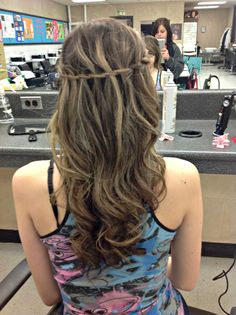 curls with straightener & a waterfall braid :)
