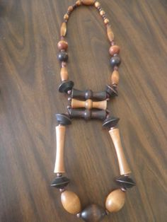 Wooden Statement Necklace Afrocentric by BeaverBrownDesigns, $59.00