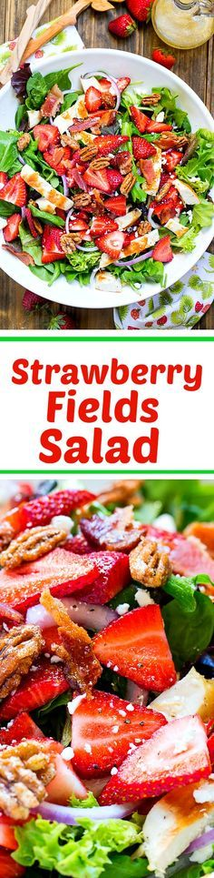 Strawberry Fields Salad with bacon, feta, glazed pecans, and a sweet and tangy dressing.