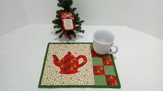 Missing You On Christmas Gift Snack Mat and Christmas Ornament Across The Miles Family, Quilted Holiday Table Mat Mug Rug Trivet, Teapot Mat